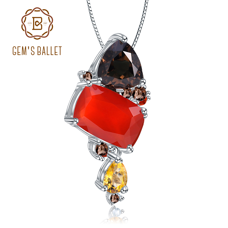 GEM'S BALLET Natural Carnalian Gemstone Fine Jewelry 925 Sterling Silver Handmade Candy Red Agate Pendant Necklace For Women