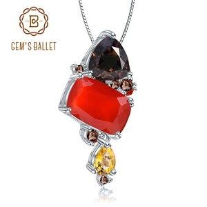 Image 1 - GEMS บัลเล่ต์ธรรมชาติ Carnalian อัญมณีเครื่องประดับ 925 เงินสเตอร์ลิง Handmade Candy สีแดง Agate สร้อยคอจี้สำหรับผู้หญิง