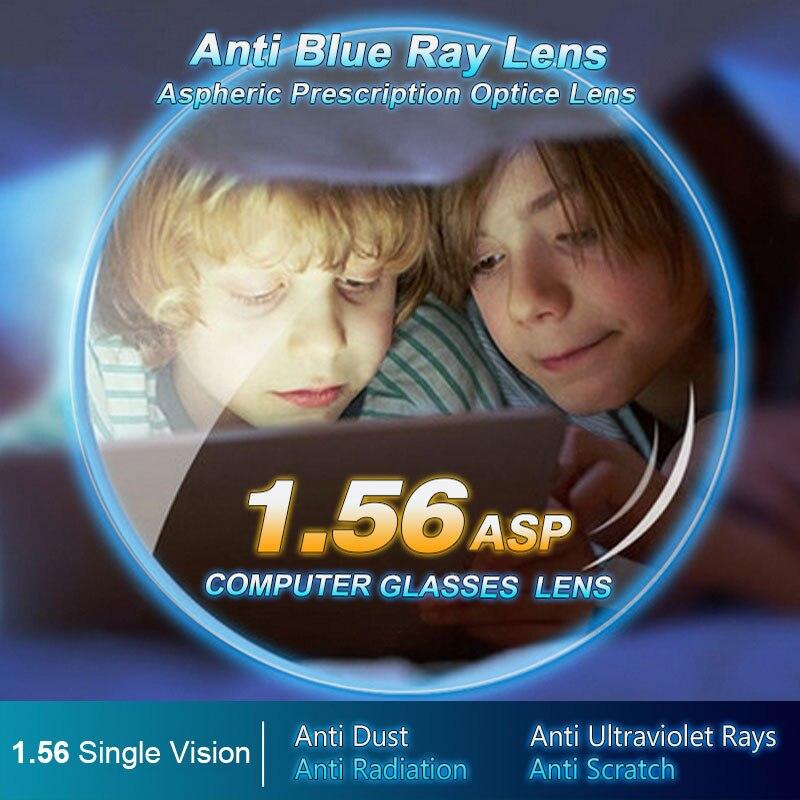 1.56 Anti-Bleu Ray Simple Vision Asphériques Lentilles Optiques Prescription Vision Correction Ordinateur Lentille de Lecture pour femmes et hommes