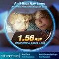 1.56 Anti-Blue Ray Visão Única Lente Óptica Asférica Prescrição de Lentes De Correção da Visão de Leitura Do Computador para mulheres e homens