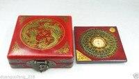BAGUA COMPASS Feng Shui Lo Luo Pan Chi Dragon Phoenix Leather Box Brass Lock
