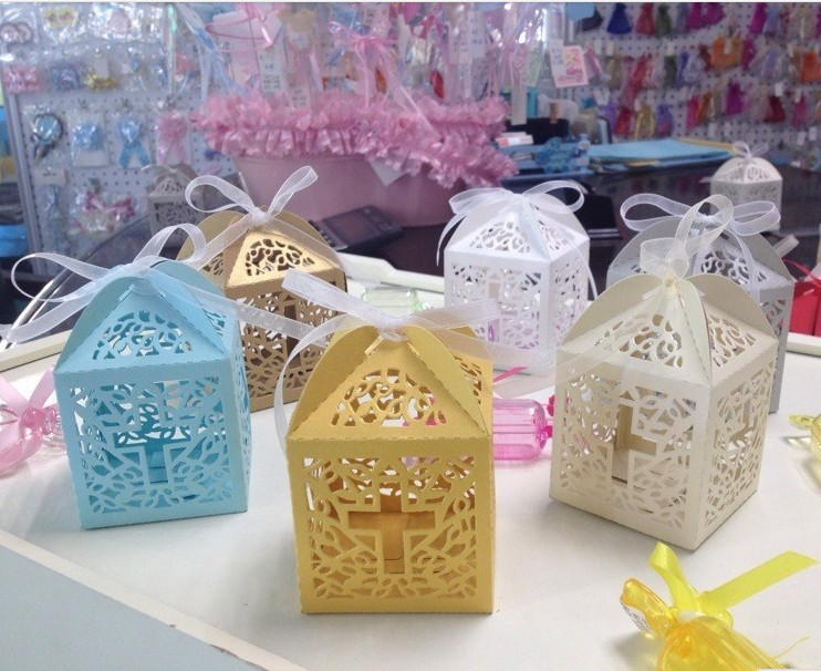 Baby Shower Favor Cross Candy Box Elegant Laser Cut