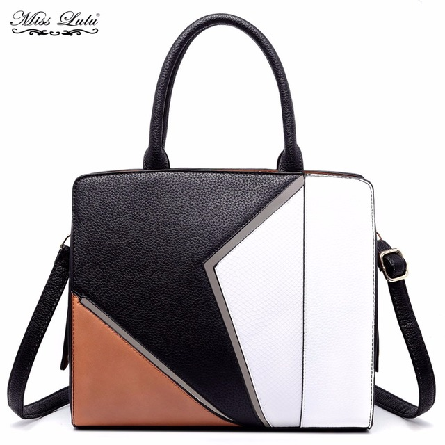 0c02e344cdbc Miss Lulu Women PU Leather Handbags Fashion Patchwork Top-Handle Bags  Ladies Shoulder Bags Cross Body Bags Satchel Tote YD1714