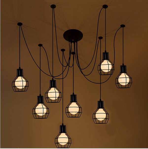 Loft Antique Retro Spider Chandelier Art Black DIY E27 Vintage Adjustable Edison Bulb pendant lamp Haning Fixture Lighting hemp rope chandelier antique classic adjustable diy ceiling spider lamp light retro edison bulb pedant lamp for home