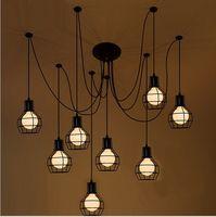 Loft Antique Retro Spider Chandelier Art Black DIY E27 Vintage Adjustable Edison Bulb Pendant Lamp Haning