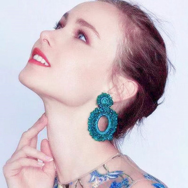 Fashion crystal earrings for women long earrings 2018 new baroque drop earrings