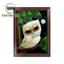 FineTime 5D DIY Diamond Painting Animal Partial Drill Owl  Diamond Embroidery Cross Stitch Mosaic Painting finetime owl 5d diy diamond painting partial round drill diamond embroidery animal cross stitch