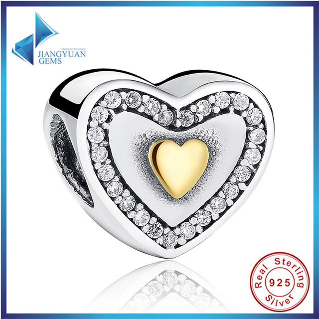 Hot Sell Sparkling 925-sterling-silver Yellow Gold Plated Always In My Heart Charm Fit Bracelet Two-Tone Bead Jewelry Making