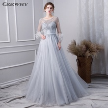 CEEWHY Plus Size Evening Dress Long Sleeve Evening Dresses