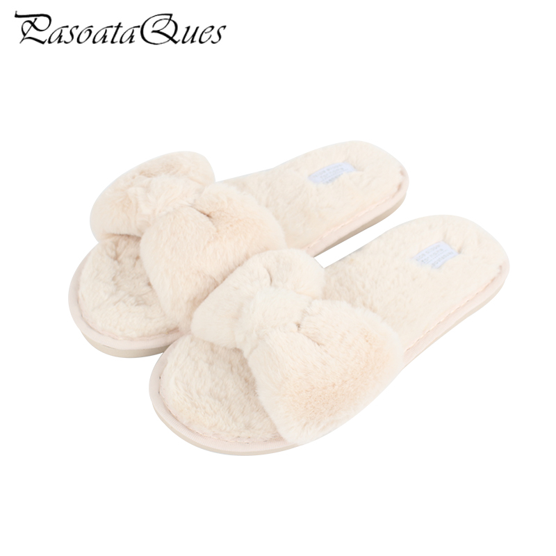 2017 Autumn Winter Plush Bowknot Soft Women Home Slippers Comfortable Indoor Flat With Women Shoes Pasoataques Brand 1742 new spring cute women slippers breathable comfortable soft house indoor home women shoes pasoataques brand