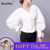 RealShe Fashion Blusas Mujer De Moda 2018 Autumn Women Sexy V Neck Petal Sleeve Women Blouses Shirt Ladies Casual Tops Blusas