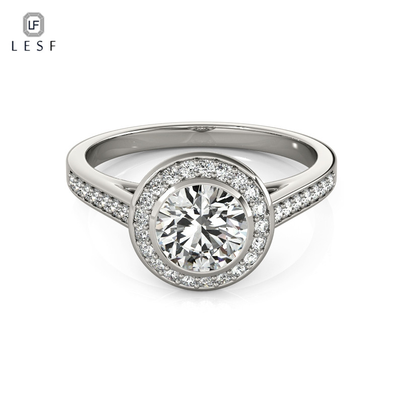 LESF 1.0 Ct 925 Sterling Silver Halo Engagement Ring Sets Classical Jewelry For Women Wedding Band Engagement Rings