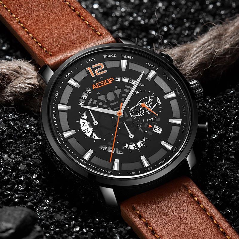 Men Leather Strap Military Watches Men's Chronograph Waterproof Sport Wrist Date Quartz Wristwatch Gifts все цены