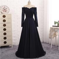 Long Sleeves Navy Blue Evening Dress Satin A Line Floor Length Vestidos De Noite Para A