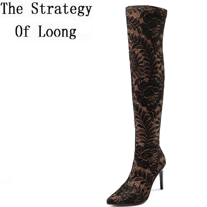 2017 New Spring Autumn Stretch Fabric Floral Women Single Long Boots Embossed Fibric Thin Heels Zip Over The Knee Boots ZY171017