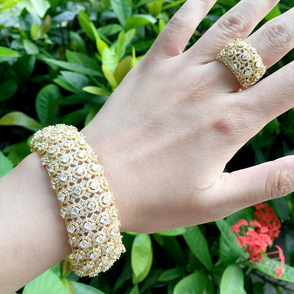 ModemAngel délicat brillant fleurs Unique bracelet africain bague ensemble bijoux ensembles pour les femmes de mariage cubique Zircon cristal CZ