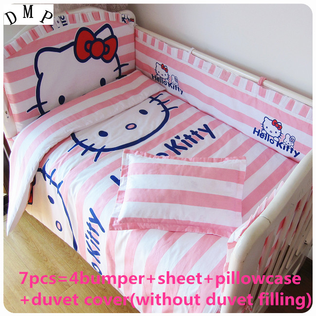 Discount! 6/7pcs Cartoon 100% cotton Baby Bedding Set for Girls Crib Cot Quilts Bumpers Newborn ,120*60/120*70cm discount 6 7pcs mickey mouse kids baby cot bedding set crib set 100