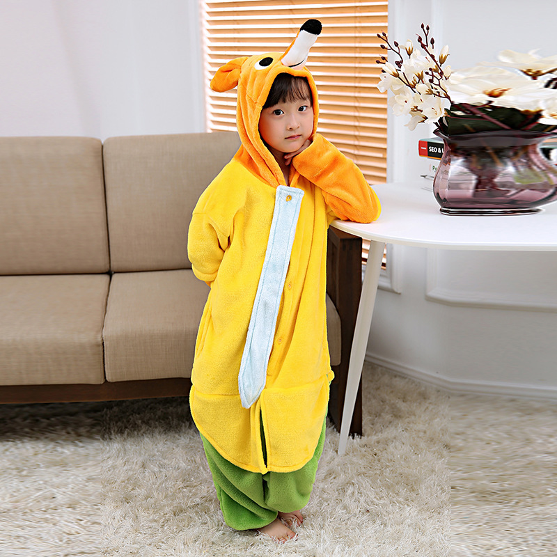 Baby Kids Boys Girls Onepiece Winter Romper Fox Pajamas Jumpsuit Halloween Coaplay Outfits