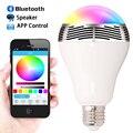 Hot 2016 Smart LED Bulb Light Wireless Bluetooth Speaker 100V - 240V E27 6W Lamp Audio for iPhone 5s 6s 7 Plus & Android Phone