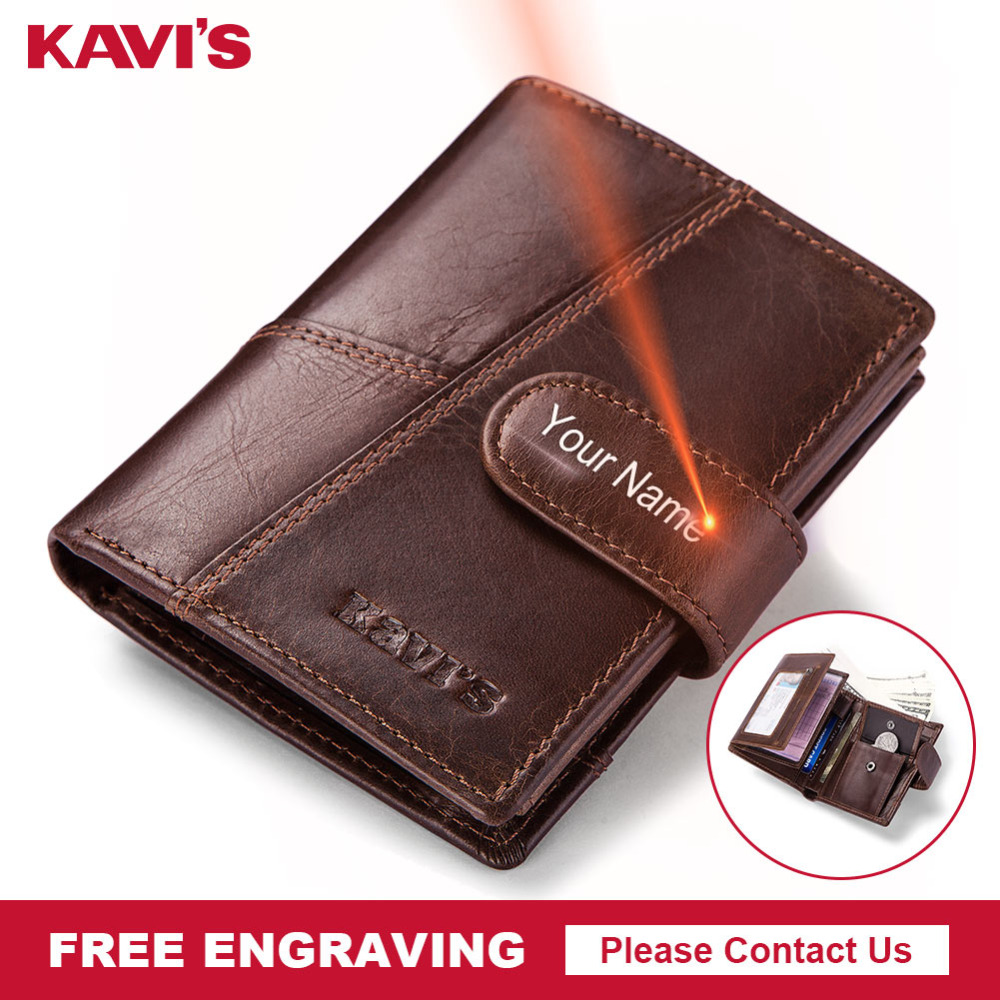 KAVIS Free Engraving Genuine Cow Leather Men Wallet Crazy Horse Coin Purse Portomonee Walet PORTFOLIO Cuzda Card Holder  Mini