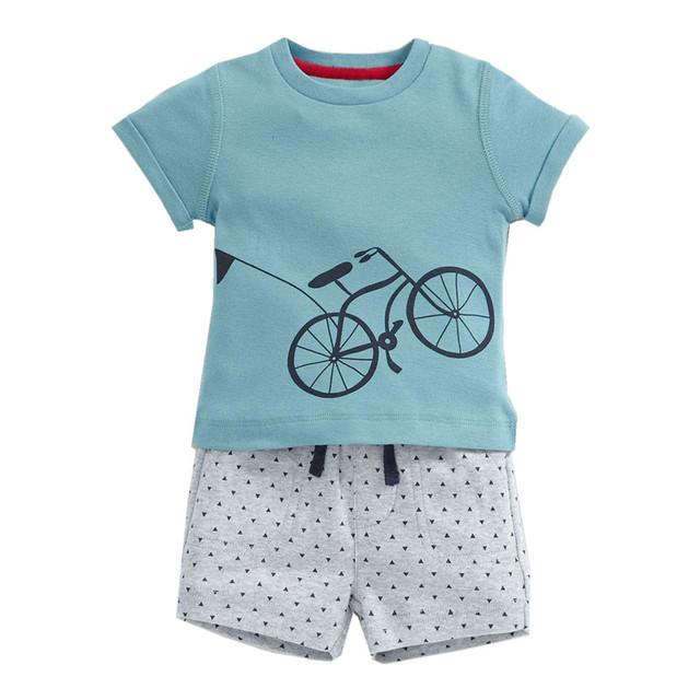 Little maven novas crianças marca de verão fresco da bicicleta qualidade o-pescoço de malha de algodão casuais meninos curto conjuntos tshirt