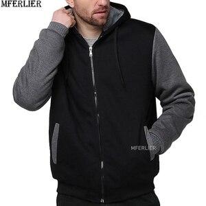 Image 4 - Winter Herfst Mannen Patchwork Sweatshirts Warme Fleece Parka Hooded Hoodies Dikke Grote Maat 8XL 9XL 10XL Oversize Hoody Jas Blauw