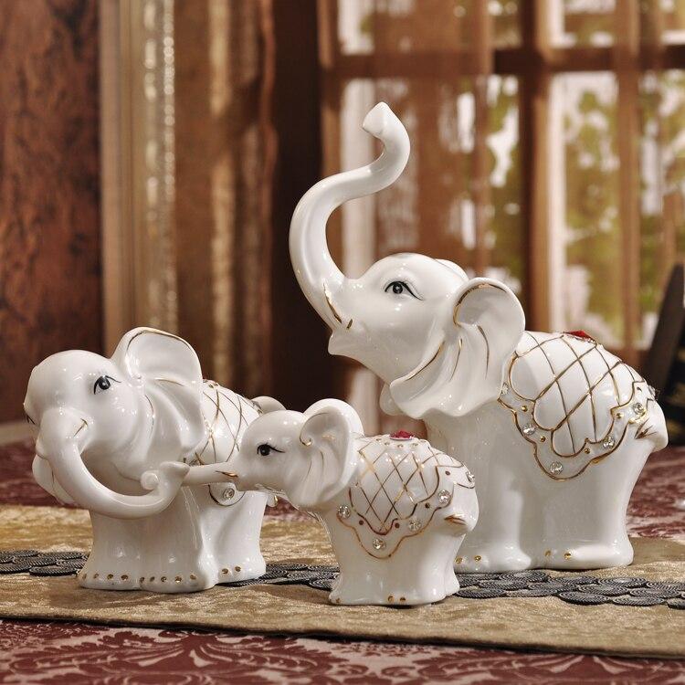 Handicraft Creative Ceramic Elephant Family Home Decor Crafts Room Decoration Wedding Ornament Porcelain Animal Figurines