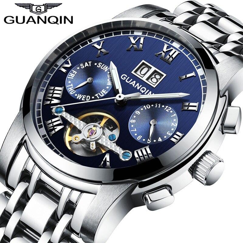 GUANQIN механические часы для мужчин сталь водостойкие автоматические часы для мужчин большой календари montre homme Relogio Masculino 2017