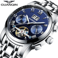 Original GUANQIN Mechanical Watches Men Steel Waterproof Automatic Watch Men Big Calendar Montre Homme Relogio Masculino
