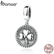 BAMOER Vintage 100% 925 Sterling Silver Clover Round Shaped Pendant fit DIY Beads & Jewelry Makings Accessories SCC039(China)