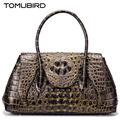 2016 New women genuine leather bag brands alligator grain embossed fashion luxury quality women leather handbags bag
