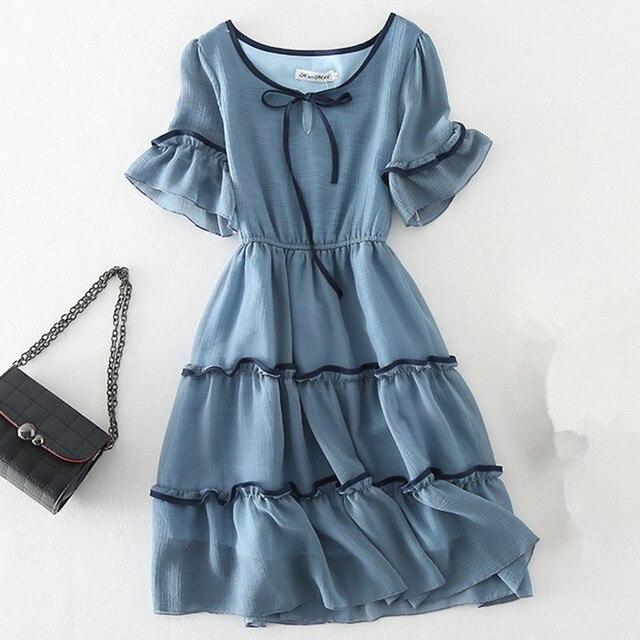 ca03bad301d Women Vintage Summer Dress 2018 Elegant Ruffle Short Sleeve Blue Chiffon Dress  Casual Work Vestidos