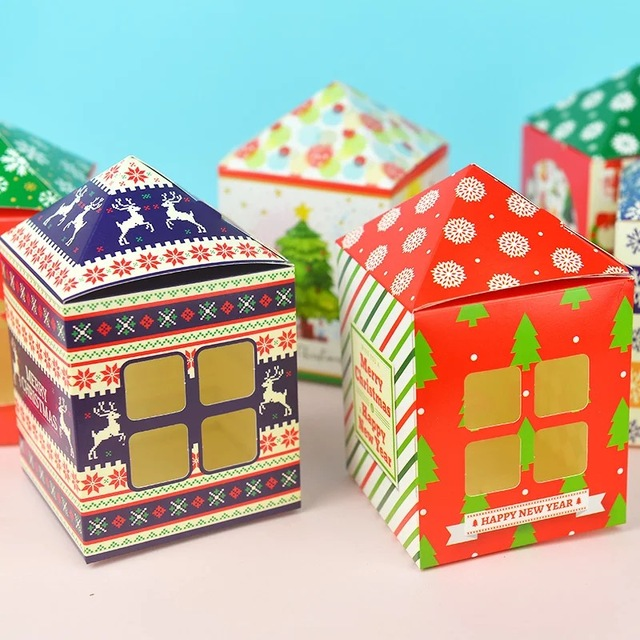 Ordinaire 6 Style Christmas House Style 12pcs Paper Box With Window Pack Candy Cookie Storage  Boxes As