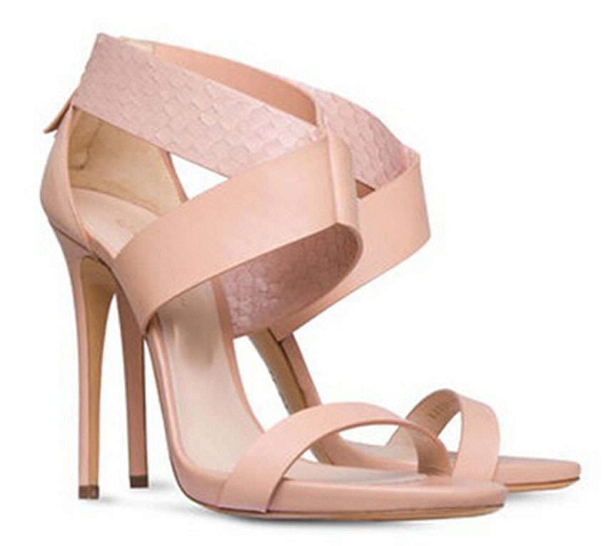 ФОТО 2015 new fashion sweet pink leather open toe ankle strap sandals high heel dress shoes woman gladiator sandals
