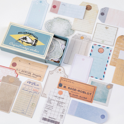 60pcs/box Journal Retro Matchbox Diary Paper Stickers Paper Vintage Decorative Mobile Stickers Scrapbooking Craft Stationery