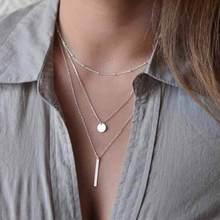 VKME Женская мода ювелирные изделия Colar 1 шт Европейский Простой: золото, серебро покрытием Многослойные Бар Монета ожерелье цепочки на ключицы