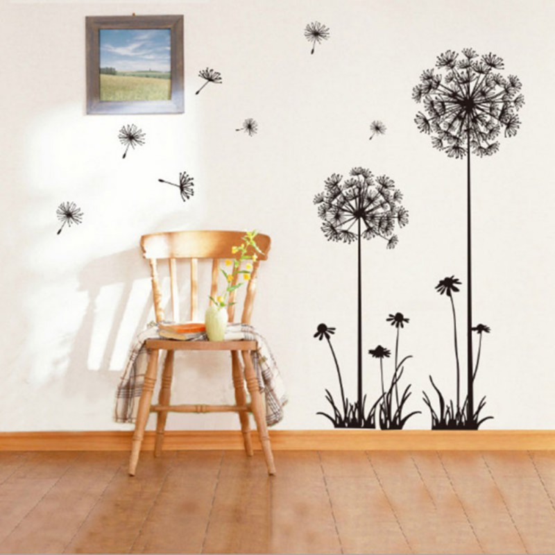 50 70cm beautiful dandelion wall stickers living room - Beautiful wall stickers for living room ...