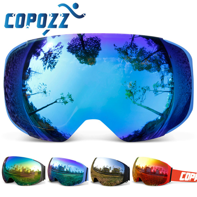 Ski Snowboard Goggles Replaceable Magnetic Lenses UV400 Anti-Fog