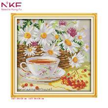 NKF Afternoon tea series Small restaurant decor DIY hand embroidery cross stitch kits patterns printed canvas needlework set