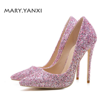Women Pumps Bling Thin Heels 12CM Pointed Toe Fashion Women Shoes For Party Wedding Basic Women Pumps Pink shoes