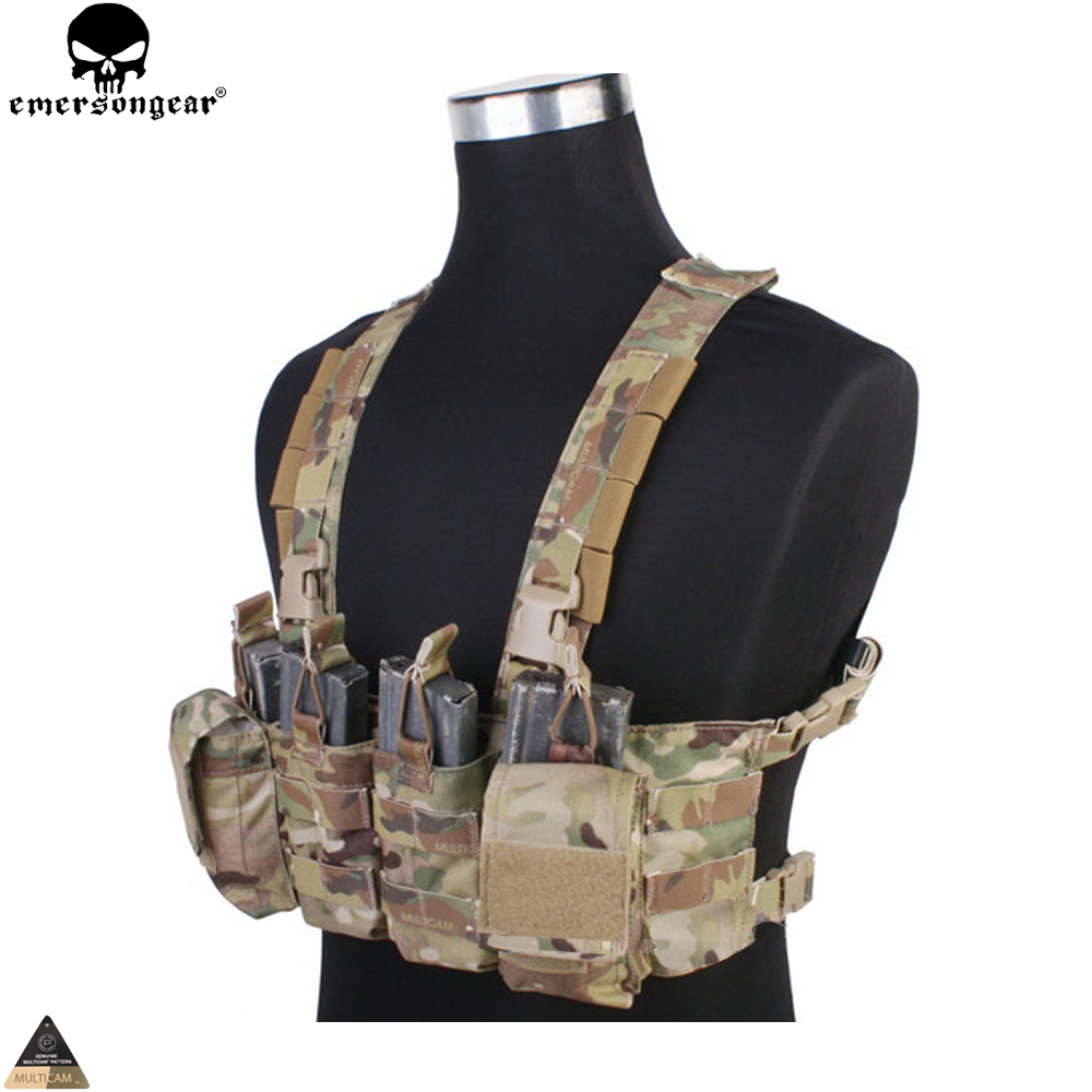 EMERSONGEAR Easy Chest Rig Vest Tactical Combat Recon Vest with Magazine Pouch Airsoft Hunting Paintball Vest Multicam EM7450 зеркало ellux stripe led str a3 9110