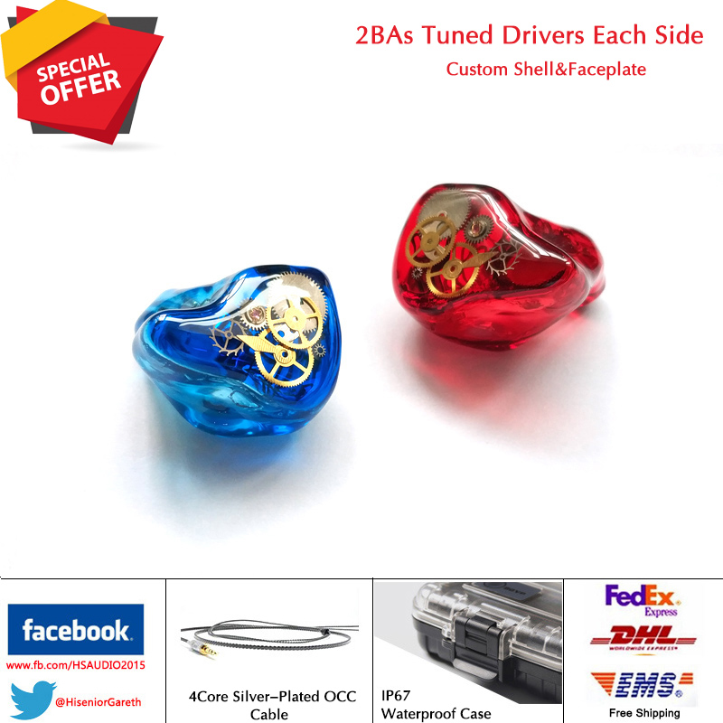 Hisenior T2 2 4 Balanced Armature Drivers In Ear Monitors Custom Fit CIEM Noise Cancelling Earphone