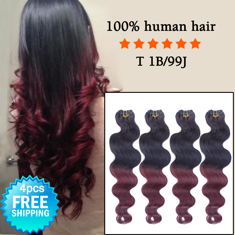 Hot Ombre Red Wine Hair Extensions Two Tone Color 1b99j