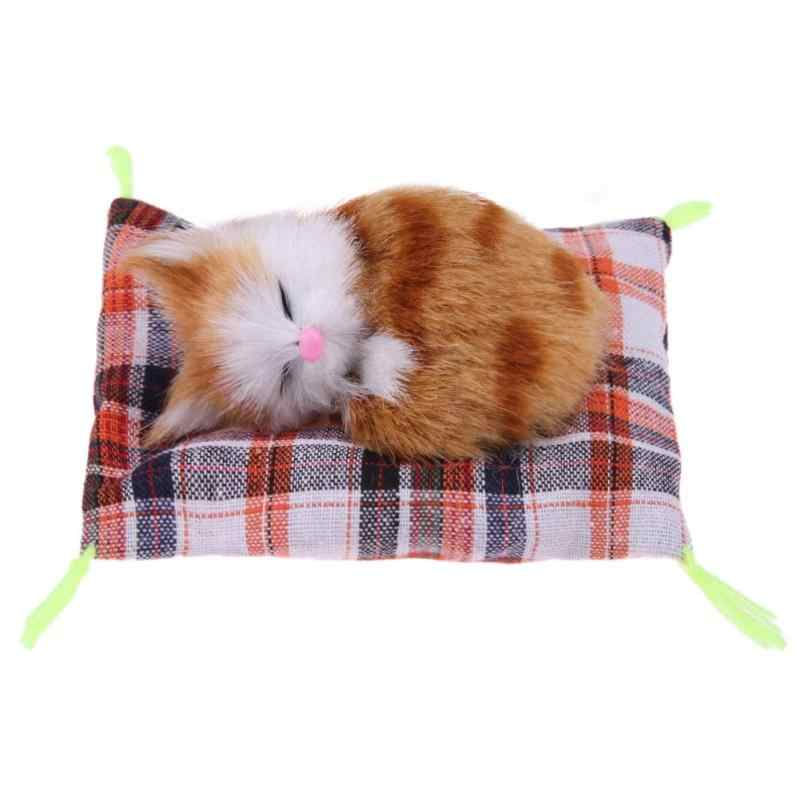 Sevimli simülasyon peluş uyku kedi doldurulmuş bebek peluche kediler yuva ile çocuk doğum günü hediyeleri çocuklar hediye fotoğraf Prop kedi oyuncaklar