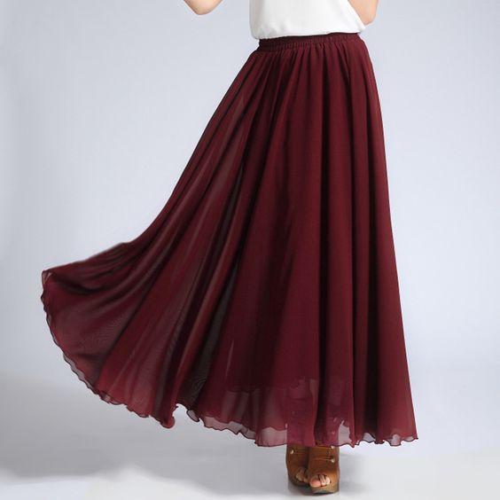 Faldas Largas Dark Red Maxi Womens Skirts Pleated Elastic Waist Chiffon  Adults Skirt Cheap Maxi Jupe Longue 8bc1b9bb0e2b