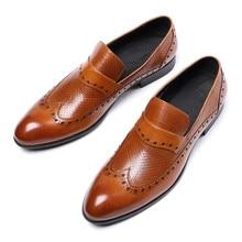 Brand Business Mens Dress Shoes Genuine Leather Black Italian Fashion Male Shoes 2019 Slip On Shoes For Men JS-A0033 недорого
