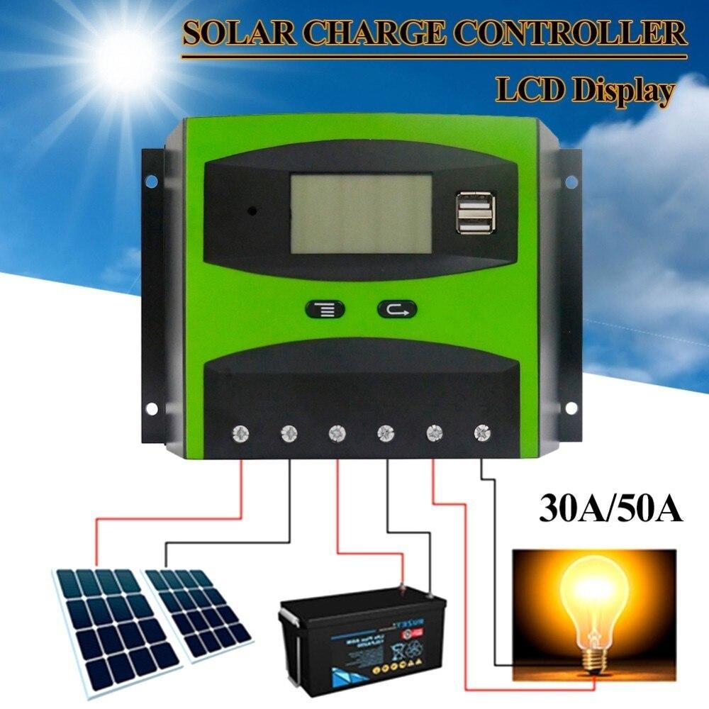 12/24V 30/50A Solar Controller With Backlight LCD Function Dual USB 5V DC 12V Output Solar Panel Battery Charge Regulator