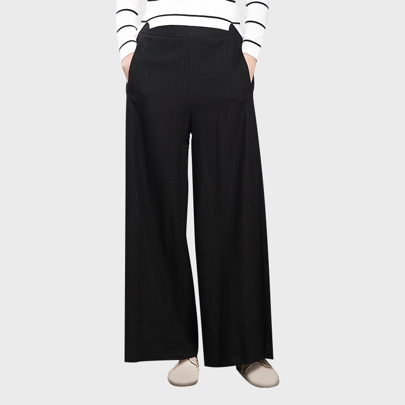 QPFJQD Original Literature Vintage Autumn Womens Casual High Waist Wide Leg Pants Women Plus Size Cotton Linen Pants Trousers