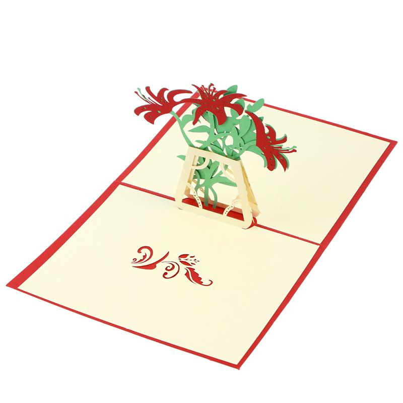 3d pop up greeting cards lily handmade wish card kirigami