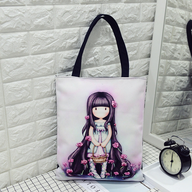 Summer Beach Bags Gorjuss Women Handbag For Teenager Girls Printing Durable Canvas Portable Shopping Handbag Handtassen Dames